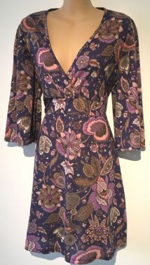 F&F PURPLE FLORAL CROSS OVER DRESS NEW SIZE UK 16